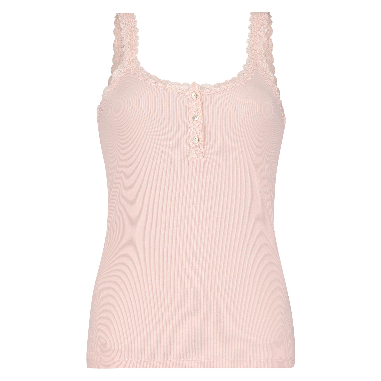 Singlet top cami rib lace, pink, main