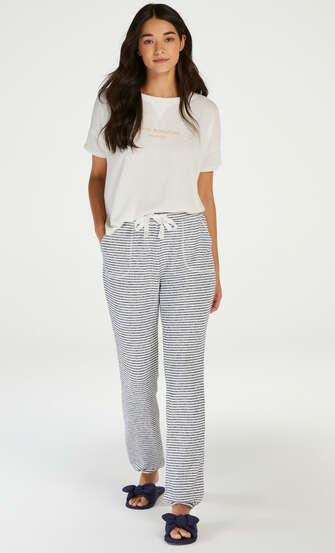 Pyjamastop korte ærmer Brushed Jersey, hvid