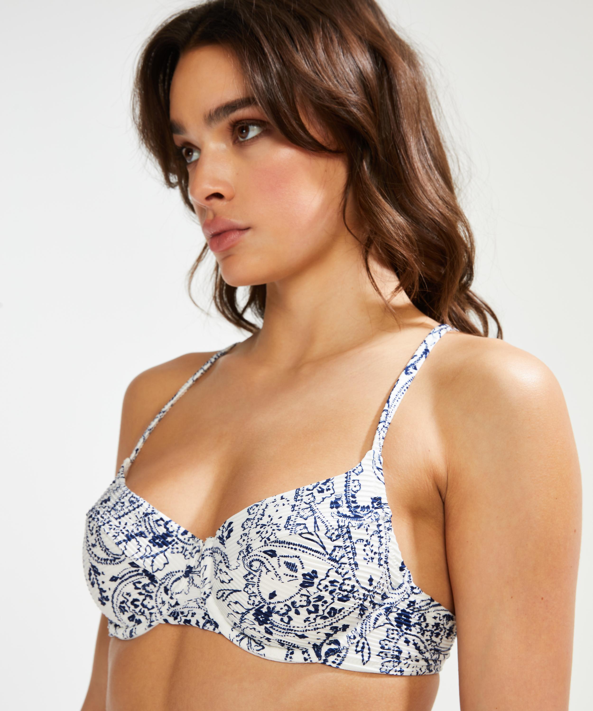Paisley bikinitop ikke-formstøbt med bøjle, hvid, main