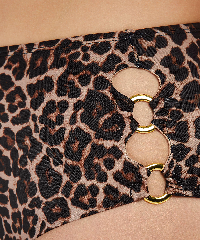 Fræk Leopard bikiniunderdel med høje ben, Beige, main