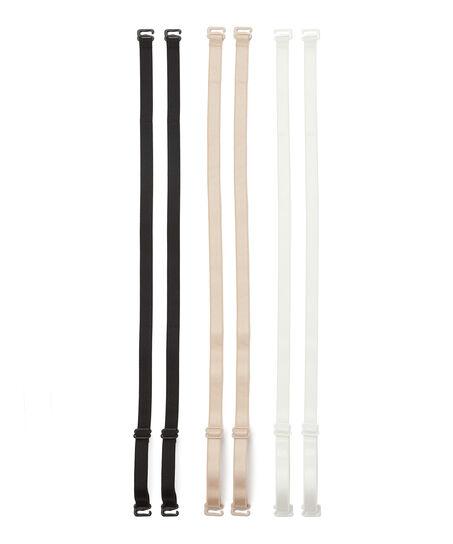 Pakke med 3 basis-bh-stropper, sort