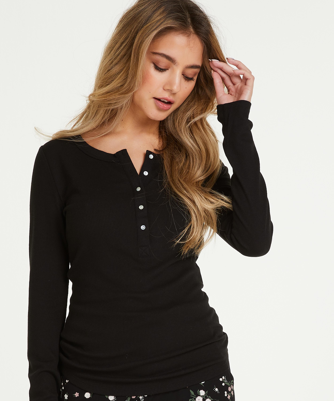 Pyjamastop med lange ærmer, sort, main