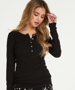 Pyjamastop med lange ærmer, sort