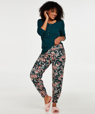 Pyjamastop med lange ærmer, grøn