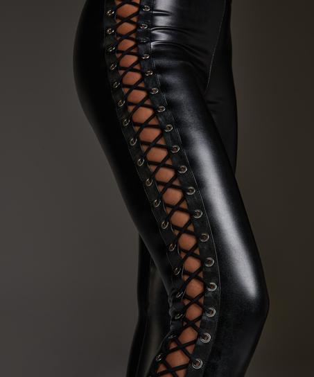 Leggings Lace up, sort
