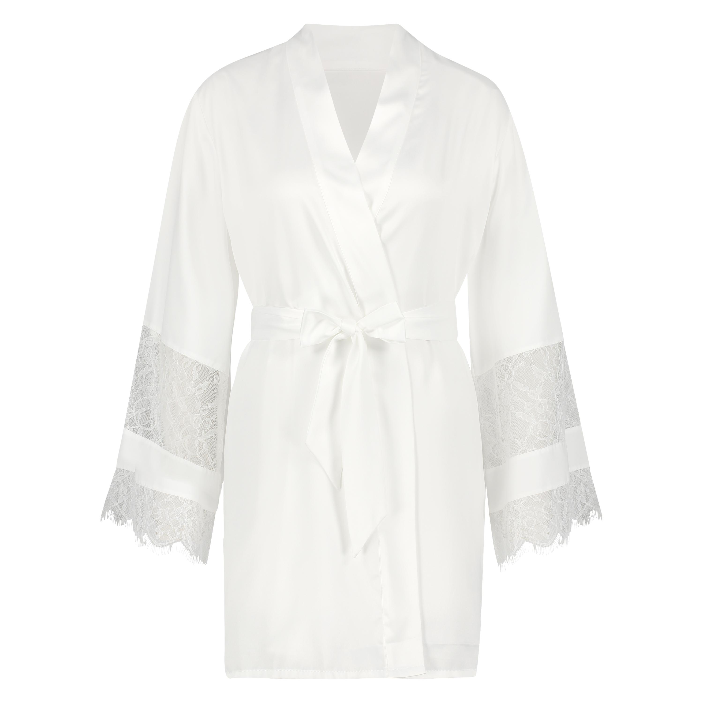 Kimono satin Bridal, hvid, main