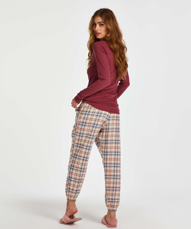 Pyjamastop med lange ærmer, rød, main