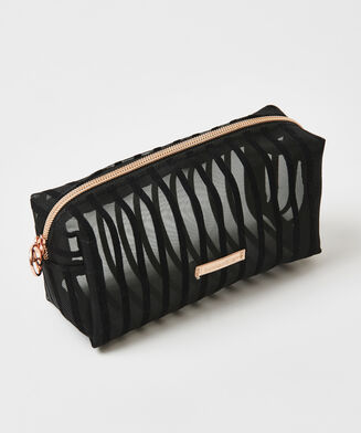 Stripe Mesh makeuptaske, sort