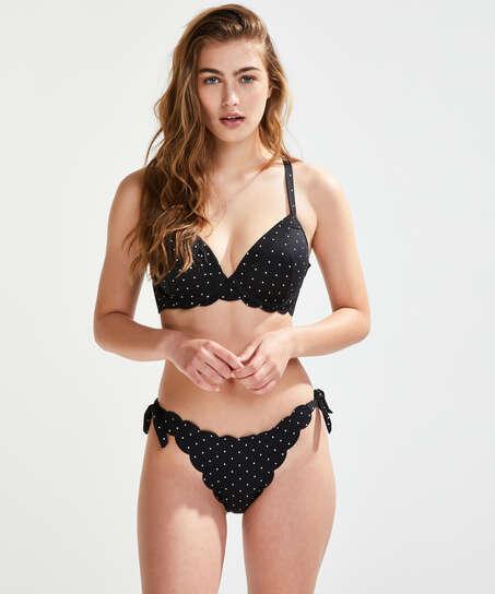 Formstøbt bøjle-bikinitop Scallop Størrelse E +, sort