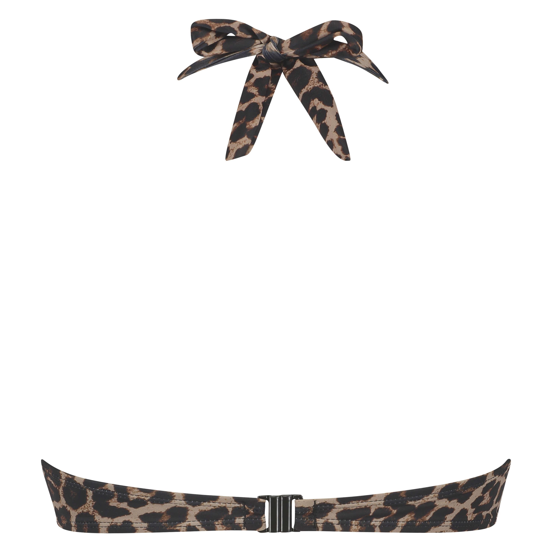 Leopard push-up bikinitop med fyld og bøjle, Beige, main