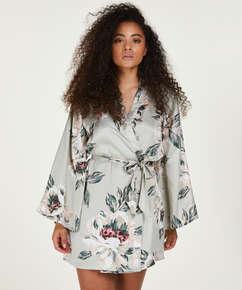 Kimono satin print, blå