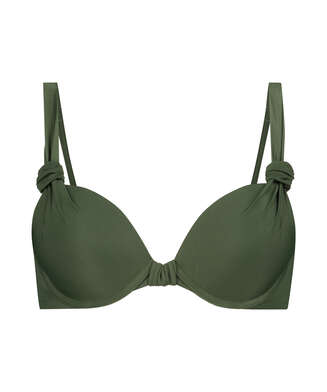 Luxe formstøbt bikinitop med bøjle Størrelse E +, grøn