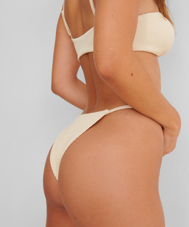 Højt udskåret bikinitrusse Struktur HKM x NA-KD, hvid, main