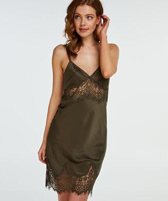 Lace Satin natkjole, grøn