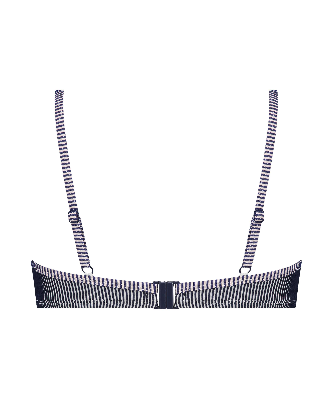 Formstøbt bikinitop med bøjle Ruffle Stripe, blå, main