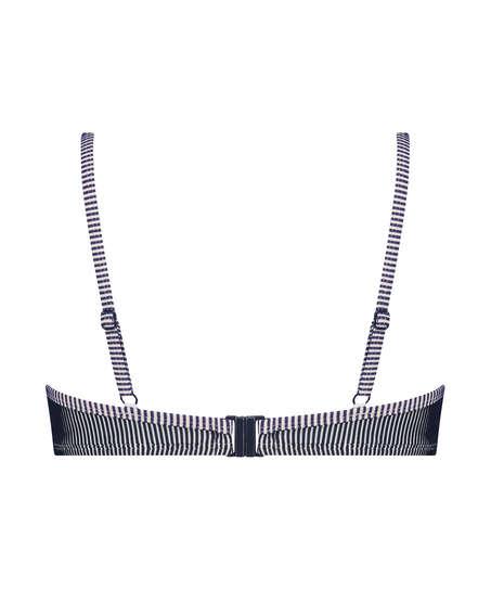 Formstøbt bikinitop med bøjle Ruffle Stripe, blå