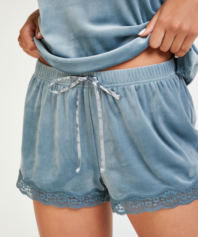 Shorts velour Lace, blå, main