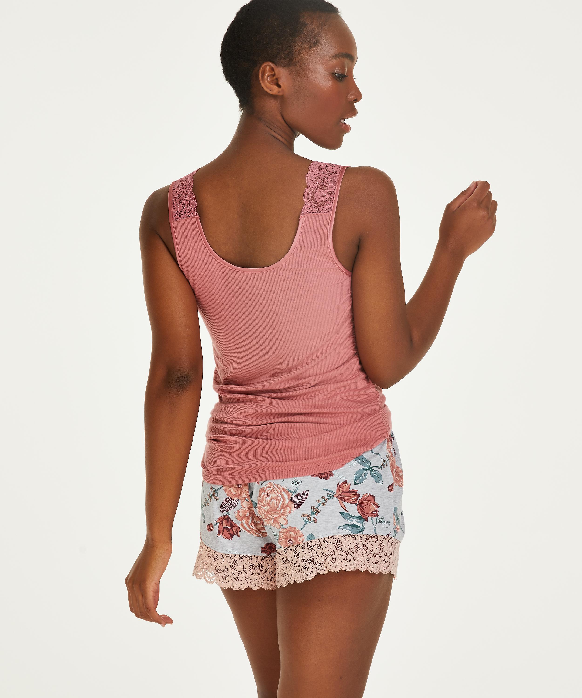 Singlet Rib Lace, pink, main