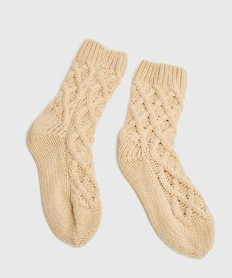 Knit sokker, Beige
