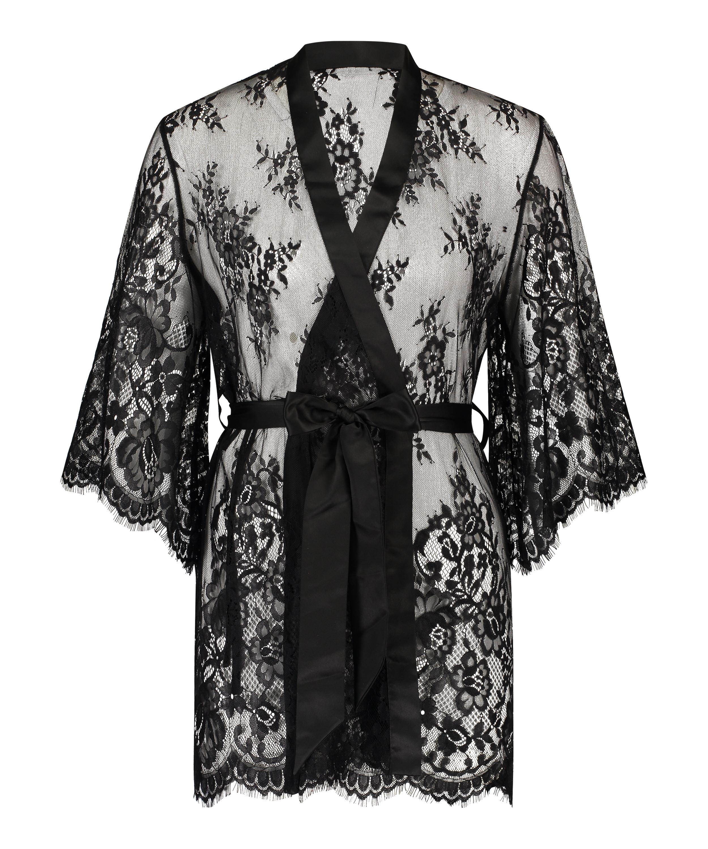 Lace Isabelle kimono, sort, main