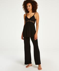 Vera pyjamassæt med blonder, sort