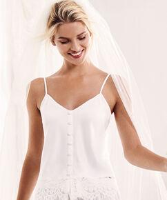 Bridal satin camitop, hvid
