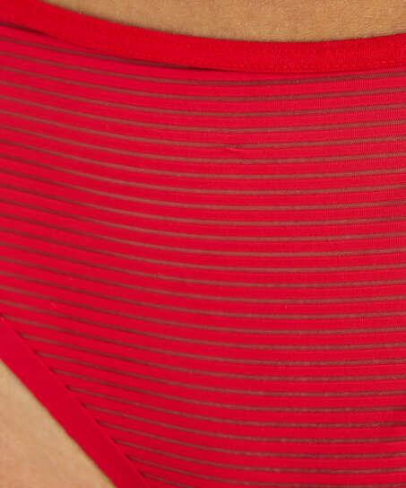 Stripe Mesh usynlig brasiliansk trusse, rød