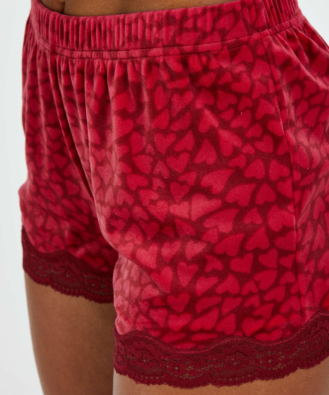 Shorts velour Lace, rød, main