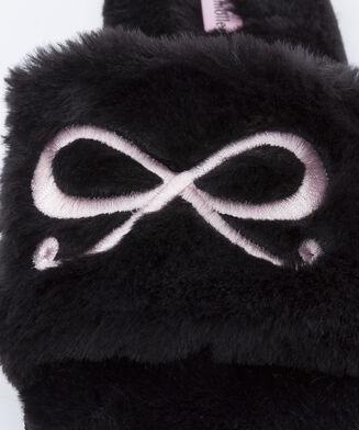 Bow Fake Fur Top hjemmesko, sort