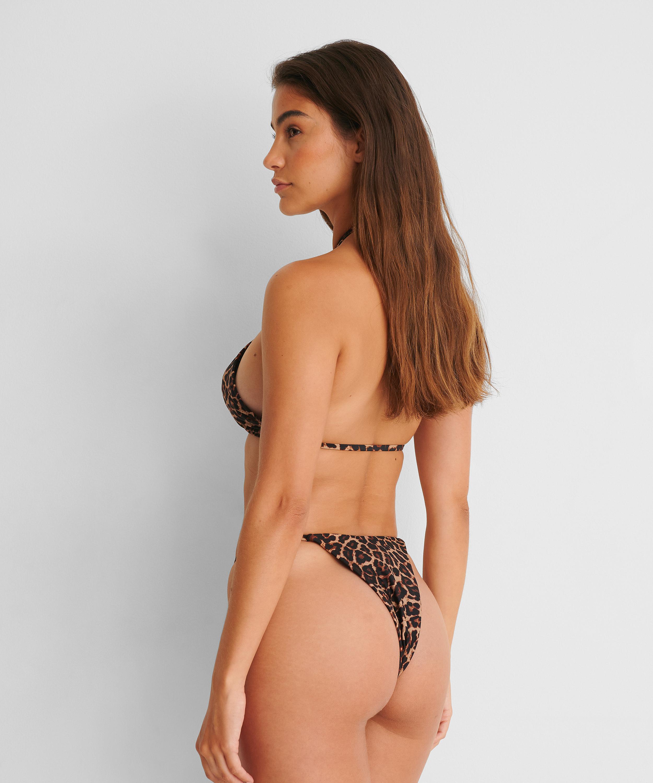 Højtudskåret bikini-g-streng Animal HKM x NA-KD, Brown, main