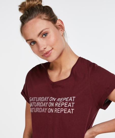 Nat-T-shirt med rund hals, rød