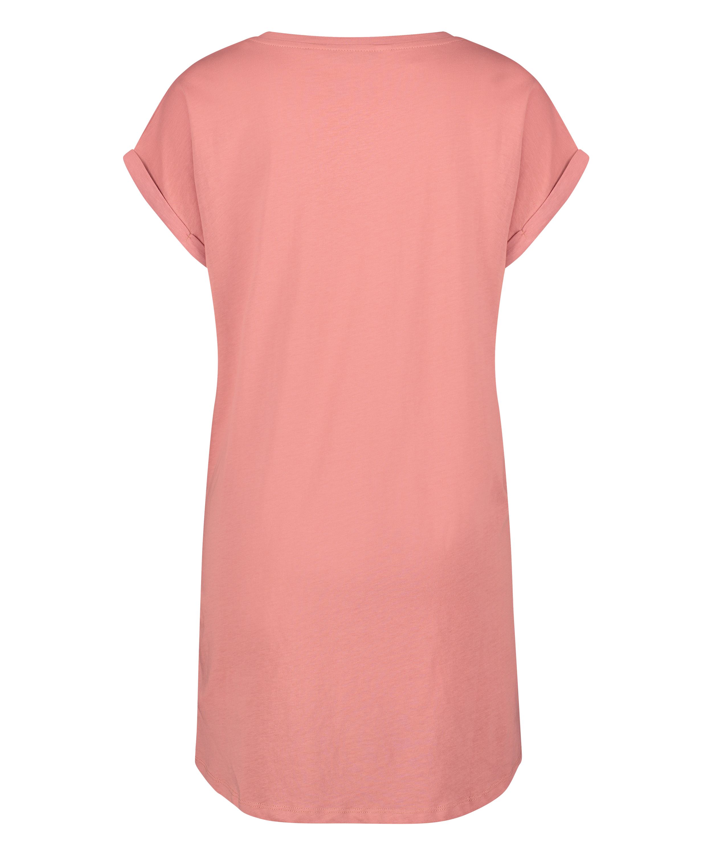 Nat-T-shirt med rund hals, pink, main