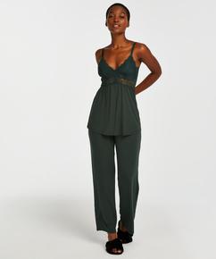 Vera pyjamassæt med blonder, grøn