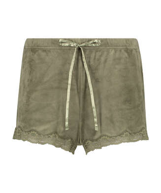 Shorts velour Lace, grøn