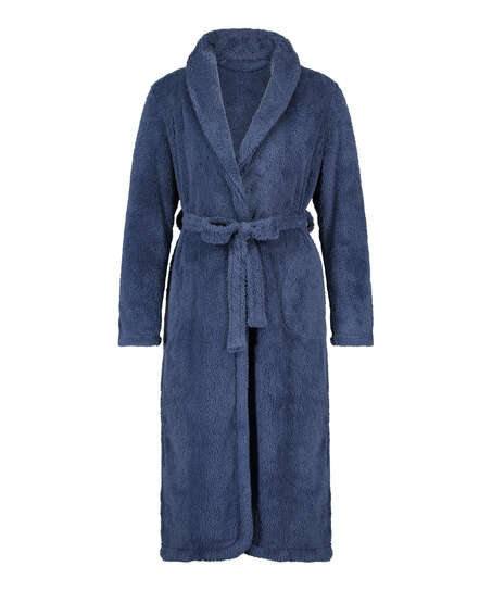 Fleece lang badekåbe, blå