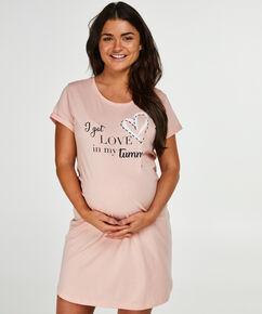 Pyjamas-T-shirt med korte ærmer til gravide, pink