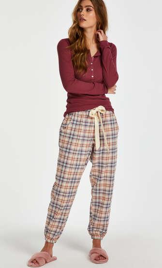 Pyjamastop med lange ærmer, rød