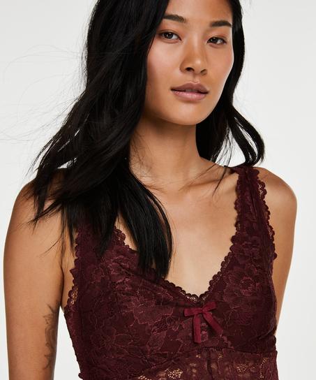 Modal Lace lang natkjole, rød