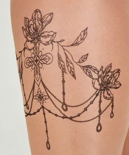 Strømpebukser 15 Denier Leg Tattoos, Beige