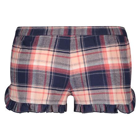 Twill Check pyjamasshorts, blå