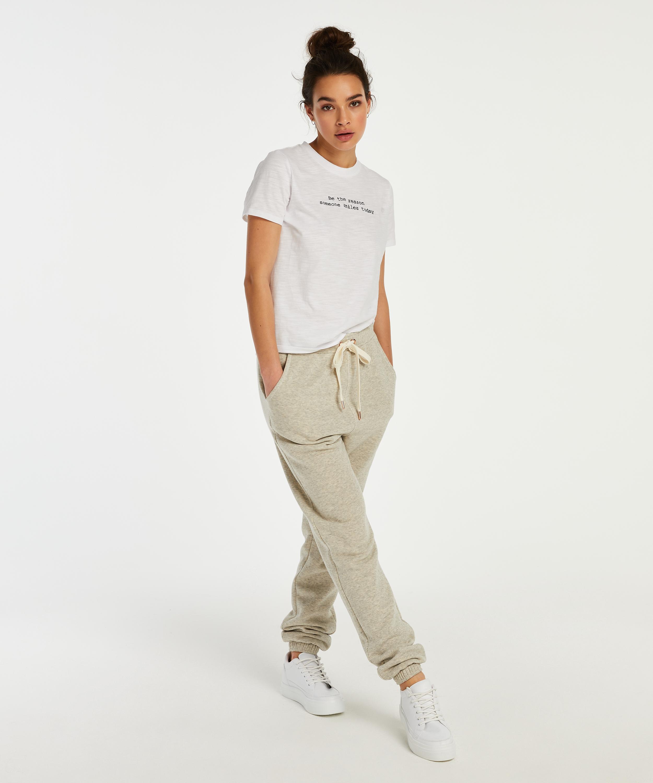 Jersey pyjamastop med korte ærmer, hvid, main