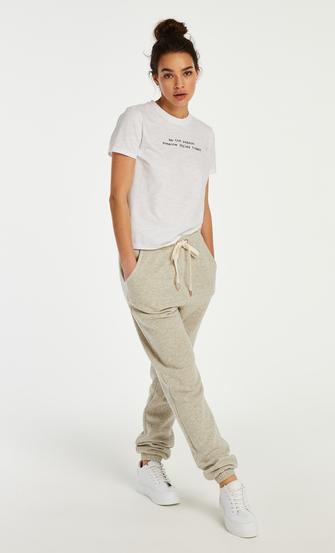 Jersey pyjamastop med korte ærmer, hvid