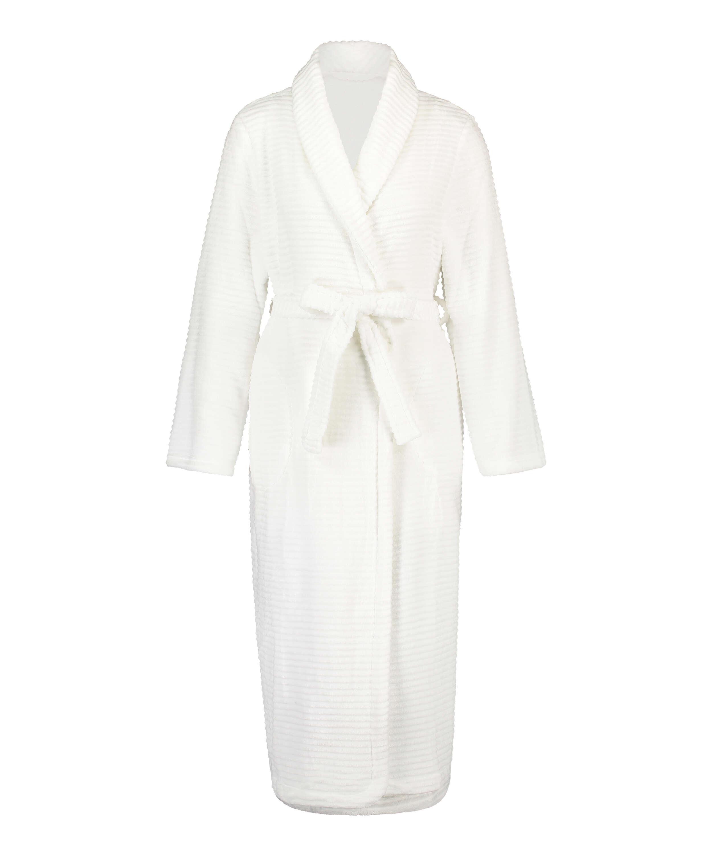 Lang ribstrikket badekåbe i fleece, hvid, main