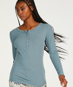 Pyjamastop med lange ærmer, blå
