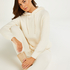Premium Hættetrøje med lange ærmer Fluffy, hvid