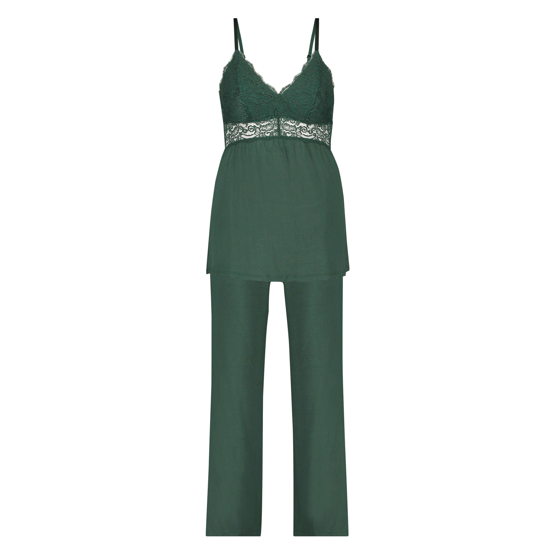 Vera pyjamassæt med blonder, grøn, main