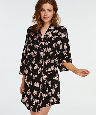 Woven Blossom kimono, sort