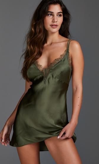 Natkjole satin Lily, grøn
