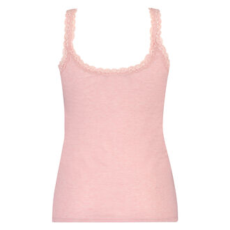 Singlet top cami rib lace, pink