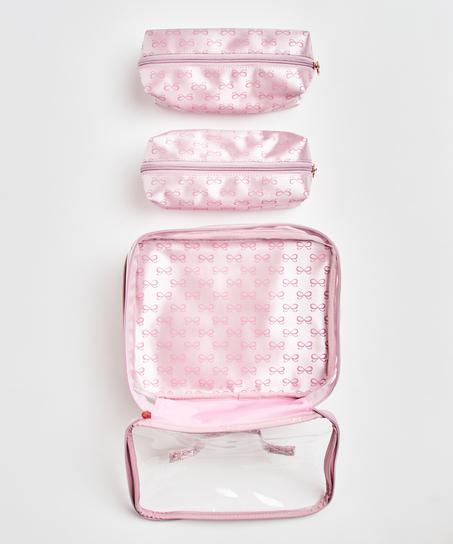 3-pak makeuptaske, pink